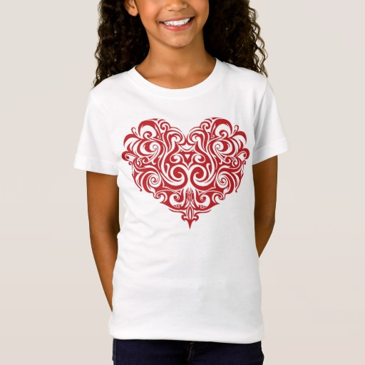 Ornate Valentines Day Heart Girls' Fine Jersey T-Shirt