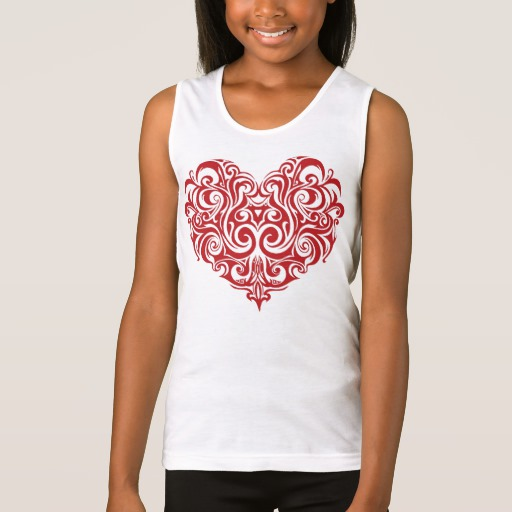 Ornate Valentines Day Heart Girls' Fine Jersey Tank Top