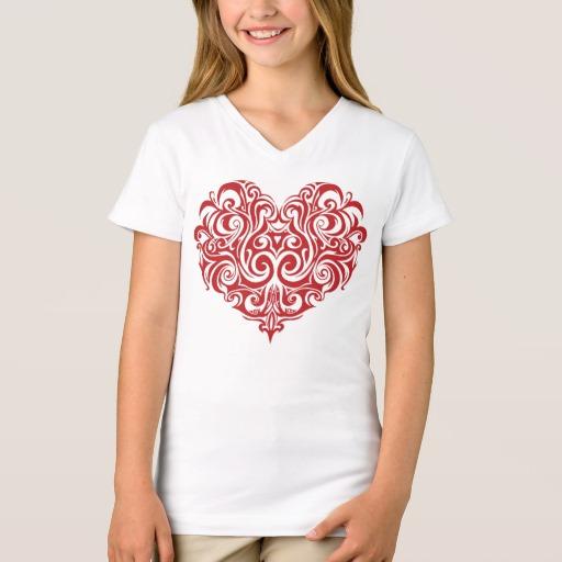 Ornate Valentines Day Heart Girls' Fine Jersey V-Neck T-Shirt