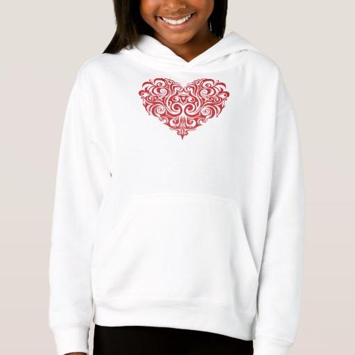Ornate Valentines Day Heart Girls' Fleece Pullover Hoodie