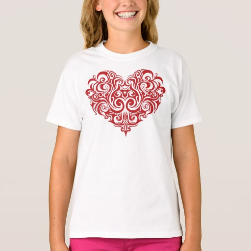 Ornate Valentines Day Heart Girls' Hanes TAGLESS® T-Shirt