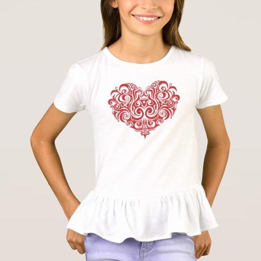 Ornate Valentines Day Heart Girls' Ruffle T-Shirt