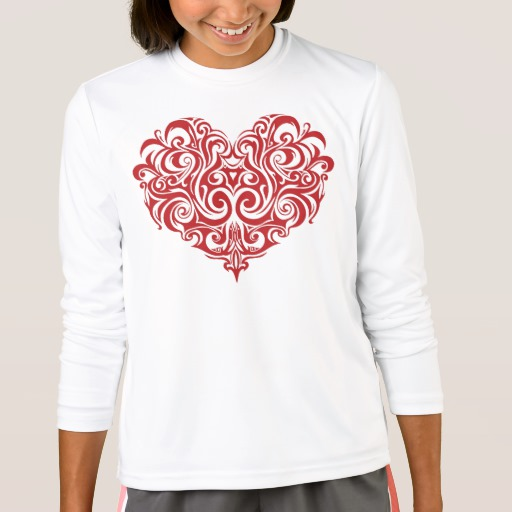Ornate Valentines Day Heart Girls' Sport-Tek Competitor Long Sleeve T-Shirt