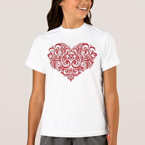 Ornate Valentines Day Heart Girls' Sport-Tek Competitor T-Shirt