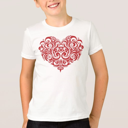 Ornate Valentines Day Heart Kids' American Apparel Fine Jersey T-Shirt