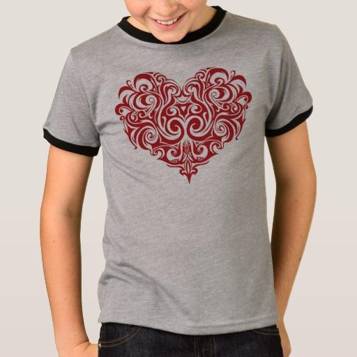 Ornate Valentines Day Heart Kids' Basic Ringer T-Shirt