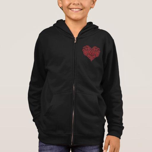 Ornate Valentines Day Heart Kids' Basic Zip Hoodie