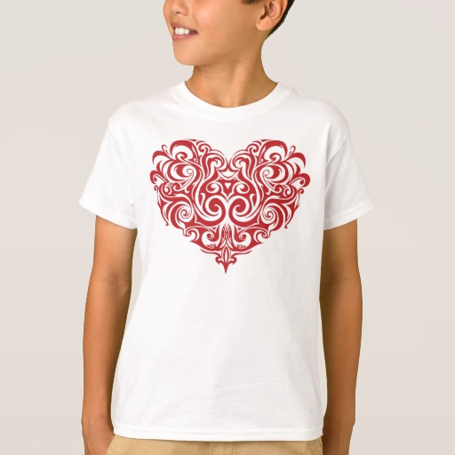 Ornate Valentines Day Heart Kids' Hanes TAGLESS® T-Shirt