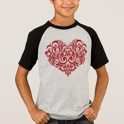 Ornate Valentines Day Heart Kids' Short Sleeve Raglan T-Shirt