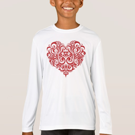 Ornate Valentines Day Heart Kids' Sport-Tek Competitor Long Sleeve T-Shirt