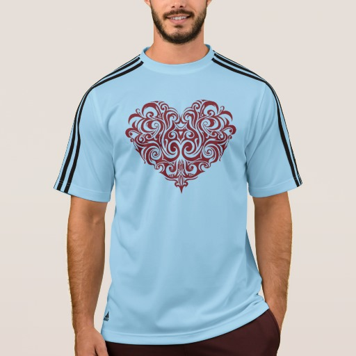 Ornate Valentines Day Heart Men's Adidas ClimaLite® T-Shirt