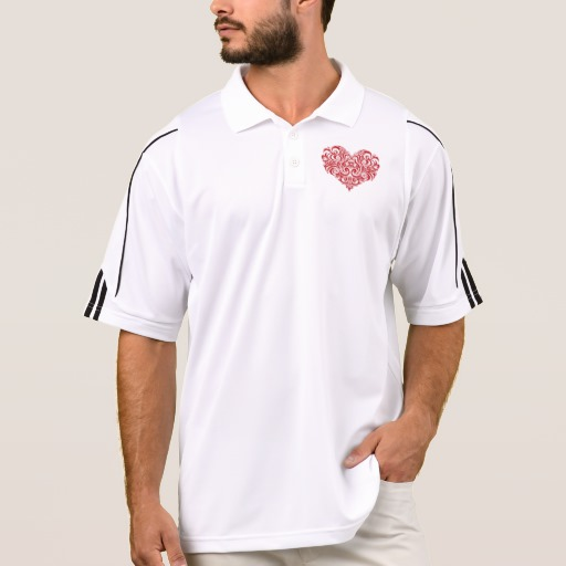 Ornate Valentines Day Heart Men's Adidas Golf ClimaLite® Polo Shirt
