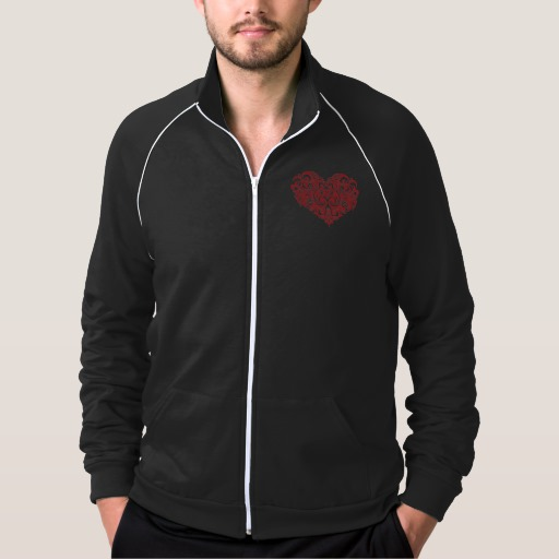 Ornate Valentines Day Heart Men's American Apparel California Fleece Track Jacket