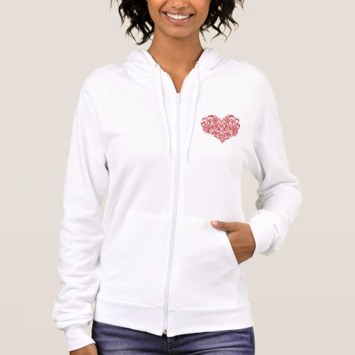 Ornate Valentines Day Heart Men's American Apparel California Fleece Zip Hoodie