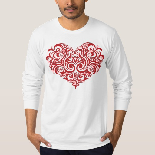 Ornate Valentines Day Heart Men's American Apparel Fine Jersey Long Sleeve T-Shirt