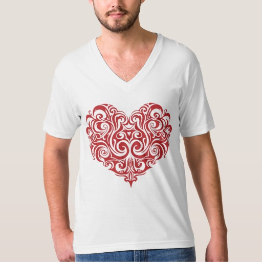 Ornate Valentines Day Heart Men's American Apparel Fine Jersey V-neck T-Shirt
