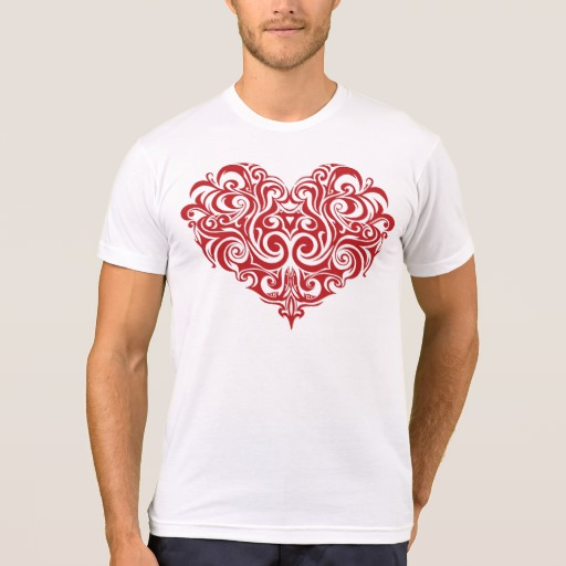 Ornate Valentines Day Heart Men's American Apparel Poly-Cotton Blend T-Shirt