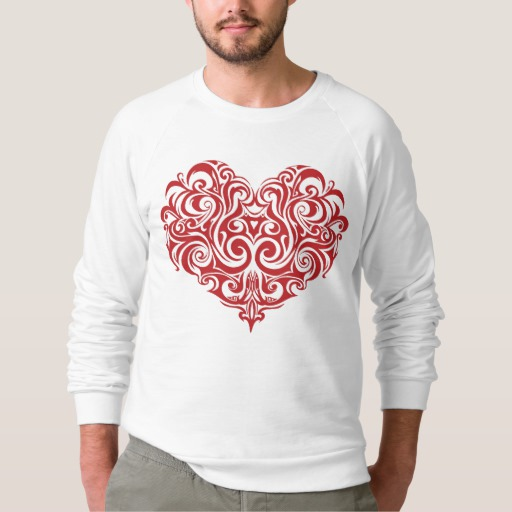 Ornate Valentines Day Heart Men's American Apparel Raglan Sweatshirt