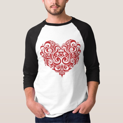 Ornate Valentines Day Heart Men's Basic 3/4 Sleeve Raglan T-Shirt