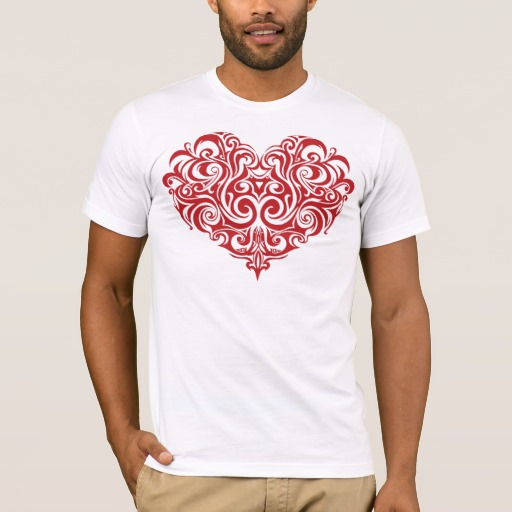 Ornate Valentines Day Heart Men's Basic American Apparel T-Shirt