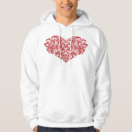 Ornate Valentines Day Heart Men's Basic Hooded Sweatshirt