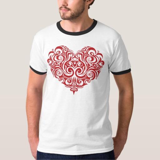 Ornate Valentines Day Heart Men's Basic Ringer T-Shirt