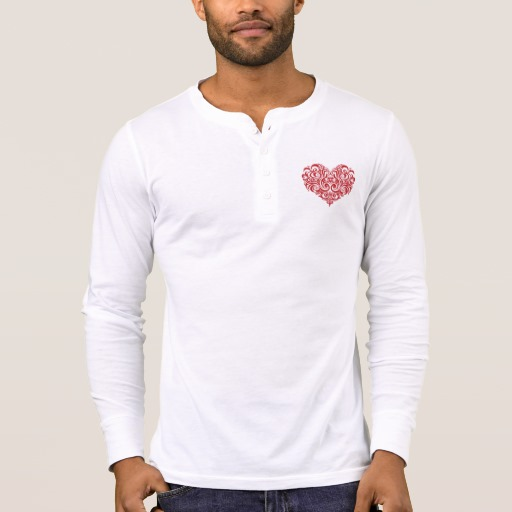 Ornate Valentines Day Heart Men's Bella+Canvas Henley Long Sleeve Shirt