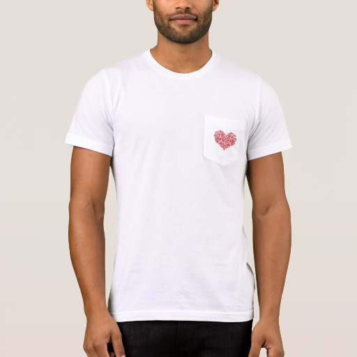 Ornate Valentines Day Heart Men's Bella+Canvas Pocket T-Shirt