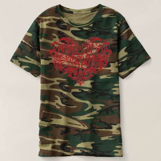 Ornate Valentines Day Heart Men's Camouflage T-Shirt