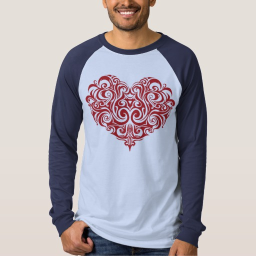 Ornate Valentines Day Heart Men's Canvas Long Sleeve Raglan T-Shirt