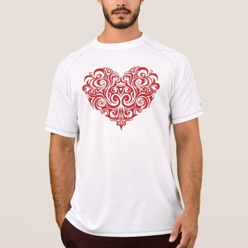 Ornate Valentines Day Heart Men's Champion Double Dry Mesh T-Shirt