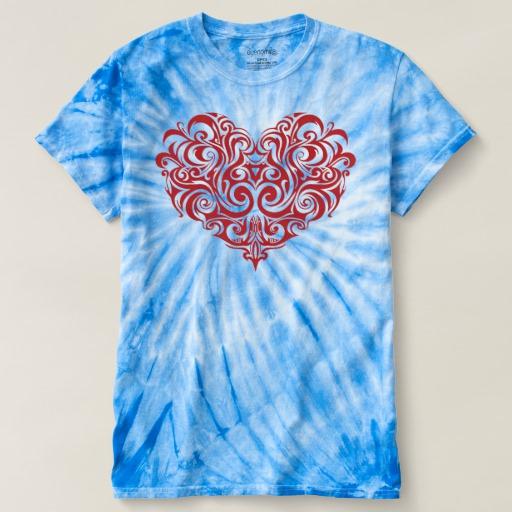 Ornate Valentines Day Heart Men's Cyclone Tie-Dye T-Shirt