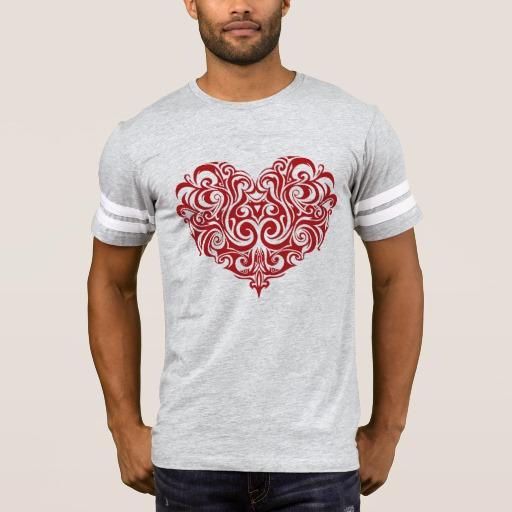 Ornate Valentines Day Heart Men's Football T-Shirt