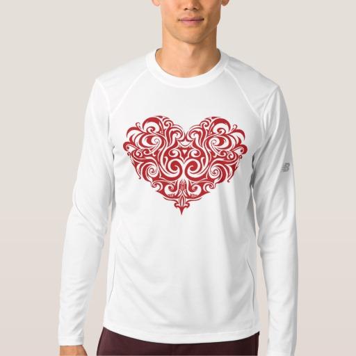Ornate Valentines Day Heart Men's New Balance Long Sleeve T-Shirt