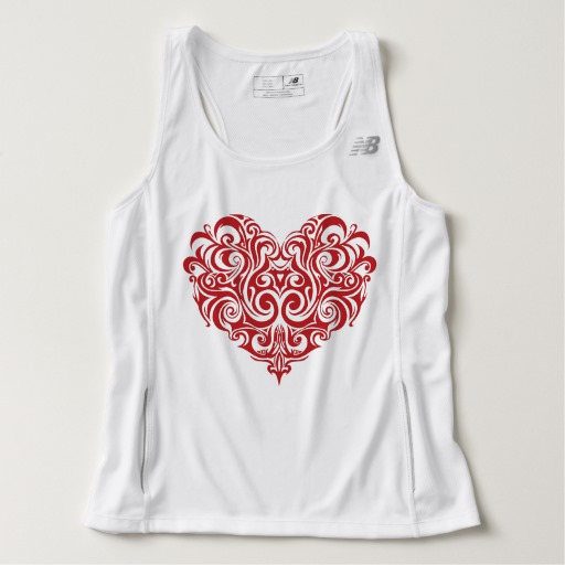 Ornate Valentines Day Heart Men's New Balance Tempo Running Tank Top