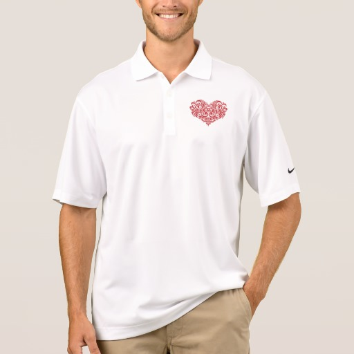 Ornate Valentines Day Heart Men's Nike Dri-FIT Pique Polo Shirt