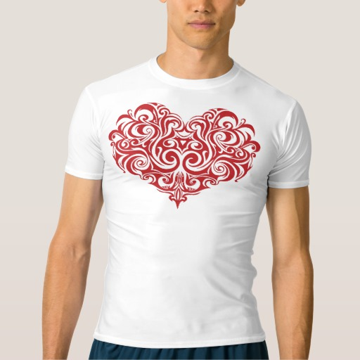 Ornate Valentines Day Heart Men's Performance Compression T-Shirt