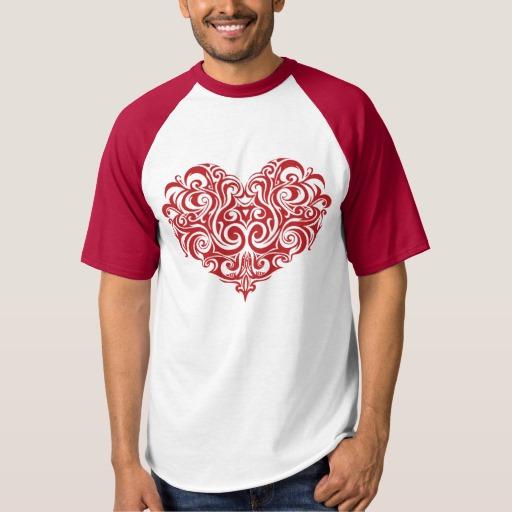 Ornate Valentines Day Heart Men's Raglan Baseball T-Shirt