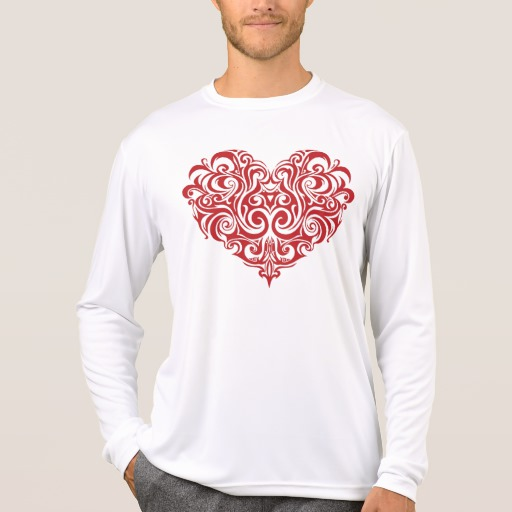Ornate Valentines Day Heart Men's Sport-Tek Competitor Long Sleeve T-Shirt