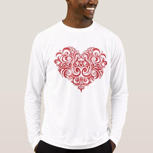 Ornate Valentines Day Heart Men's Sport-Tek Fitted Performance Long Sleeve T-Shirt