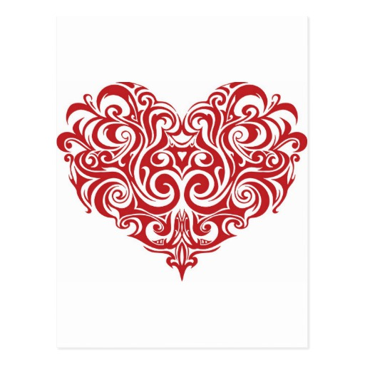 Ornate Valentines Day Heart Postcard