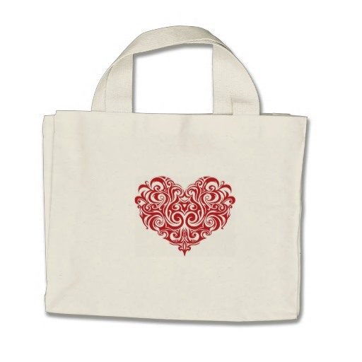 Ornate Valentines Day Heart Tiny Tote