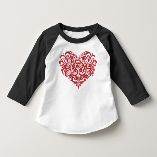 Ornate Valentines Day Heart Toddler American Apparel 3/4 Sleeve Raglan T-Shirt
