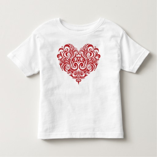Ornate Valentines Day Heart Toddler Fine Jersey T-Shirt