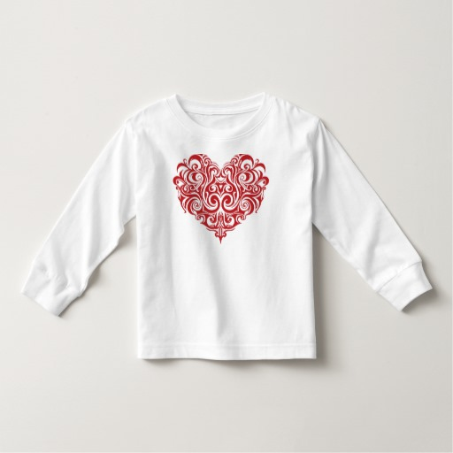 Ornate Valentines Day Heart Toddler Long Sleeve T-Shirt