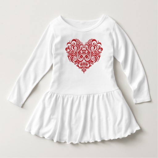 Ornate Valentines Day Heart Toddler Ruffle Dress
