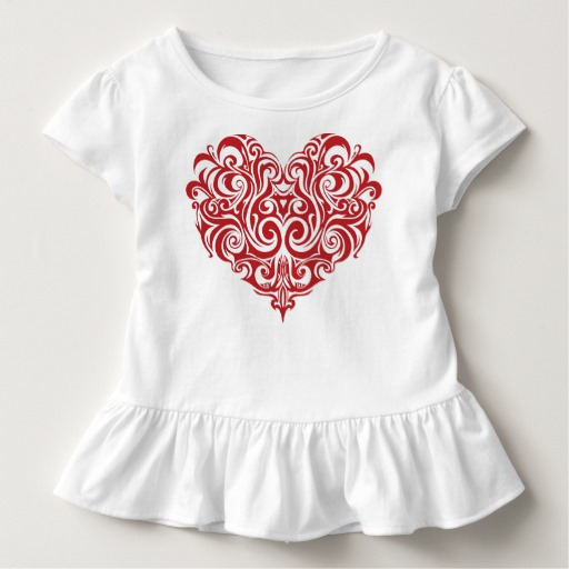 Ornate Valentines Day Heart Toddler Ruffle Tee