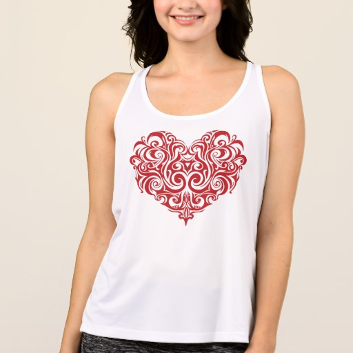Ornate Valentines Day Heart Women's All Sport Performance Tank Top