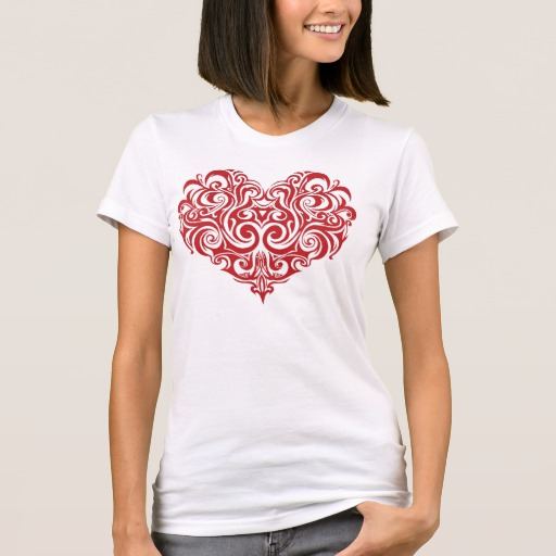 Ornate Valentines Day Heart Women's American Apparel Fine Jersey T-Shirt