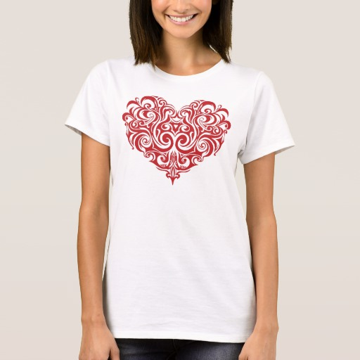Ornate Valentines Day Heart Women's Basic T-Shirt